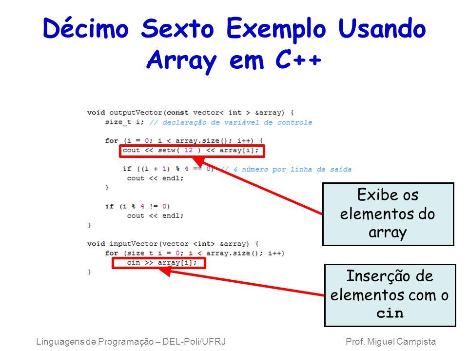 Décimo Sexto Exemplo Usando Array em C++