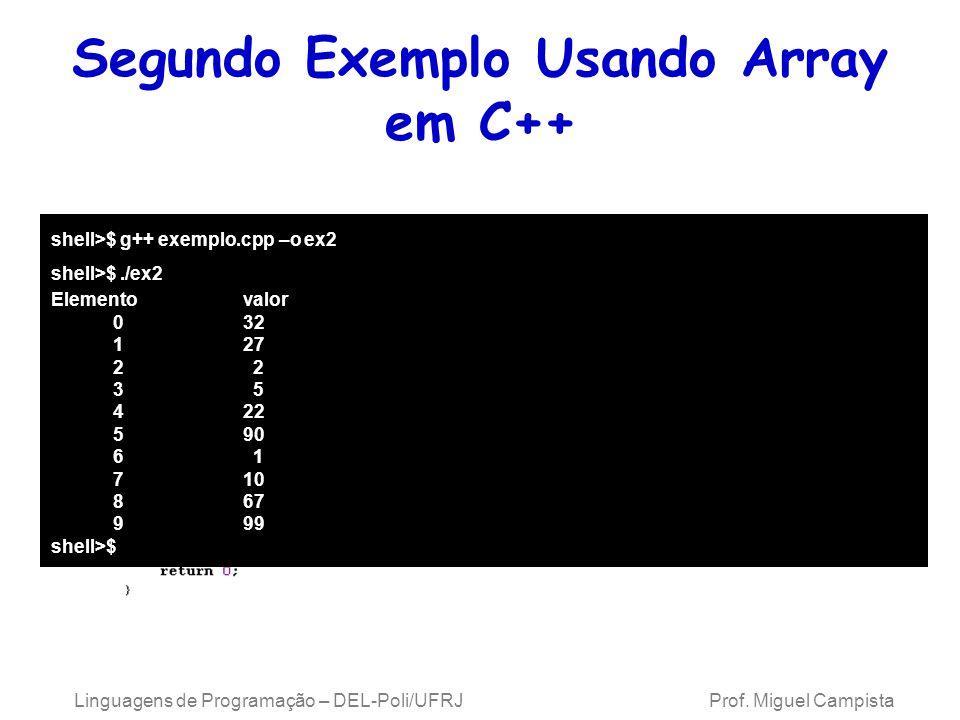 Segundo Exemplo Usando Array em C++