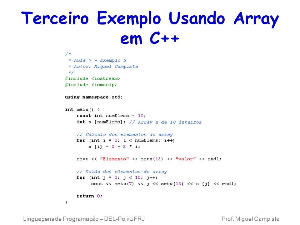 Terceiro Exemplo Usando Array em C++