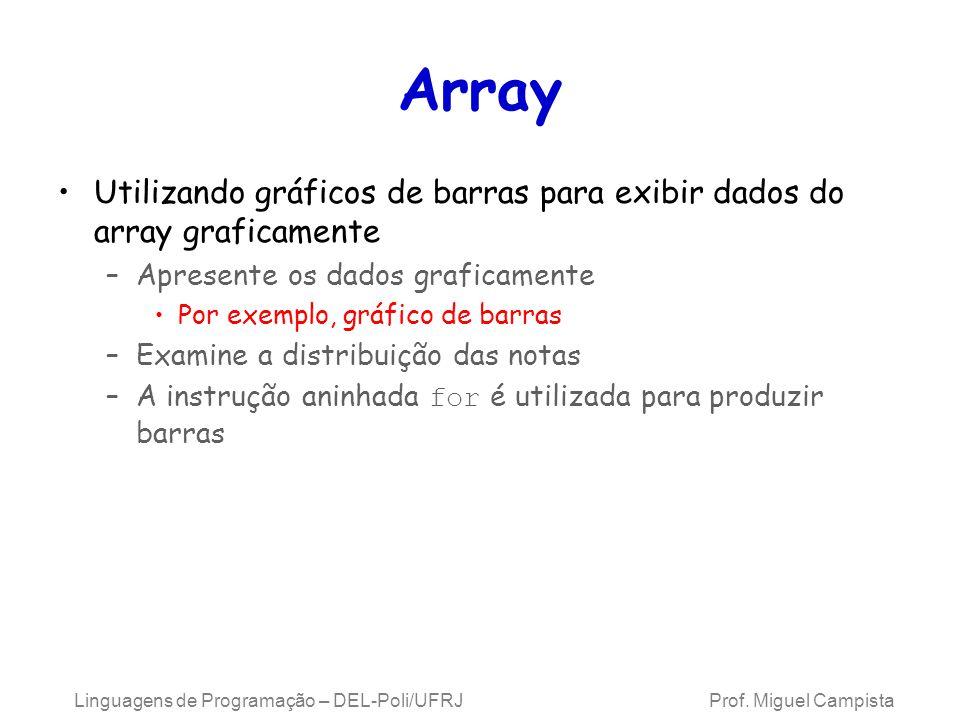 Array Utilizando gráficos de barras para exibir dados do array graficamente. Apresente os dados graficamente.