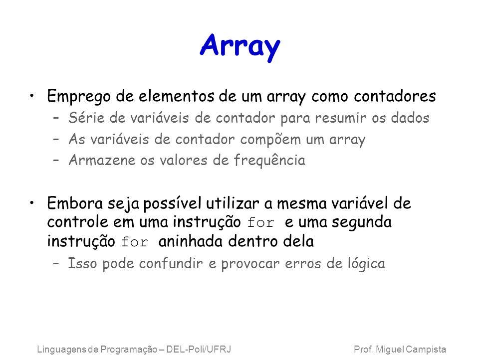 Array Emprego de elementos de um array como contadores