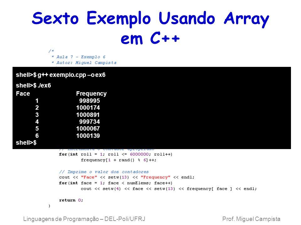 Sexto Exemplo Usando Array em C++