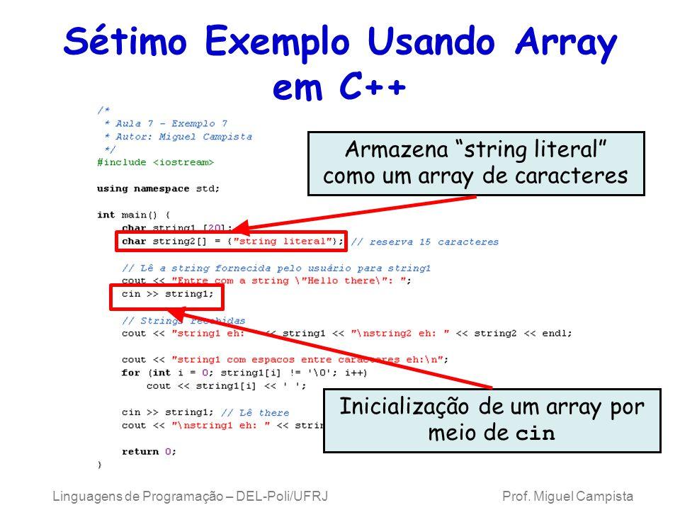 Sétimo Exemplo Usando Array em C++