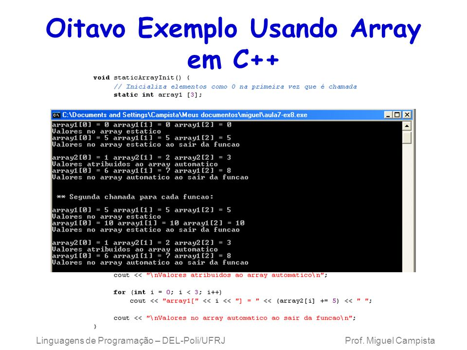 Oitavo Exemplo Usando Array em C++