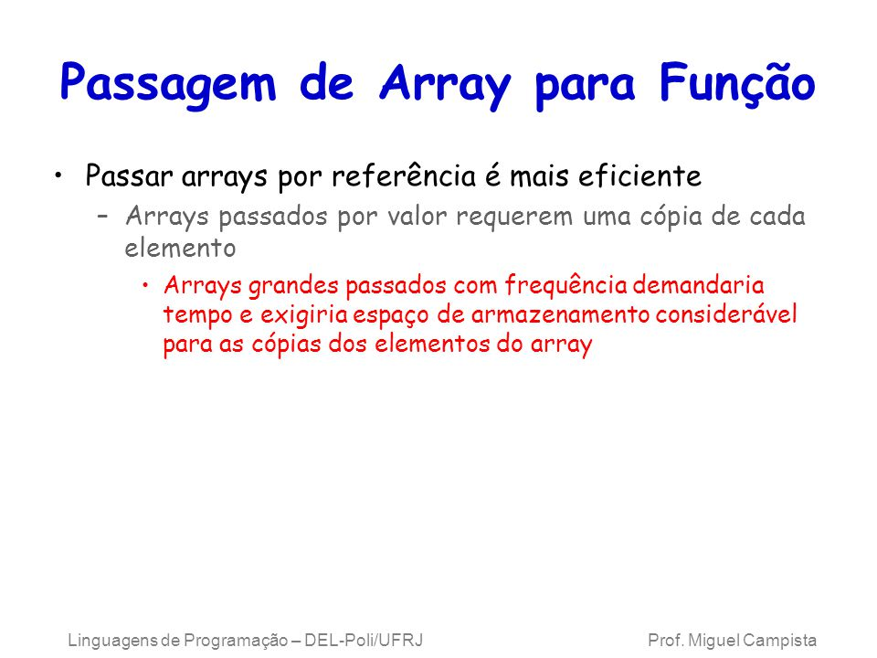 Passagem de Array para Função