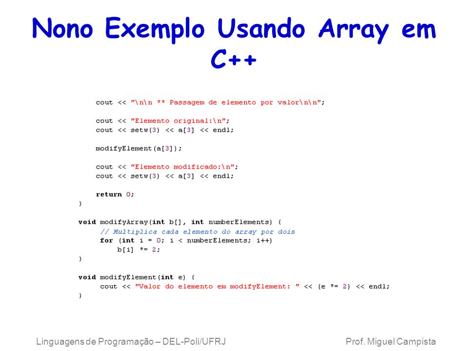 Nono Exemplo Usando Array em C++