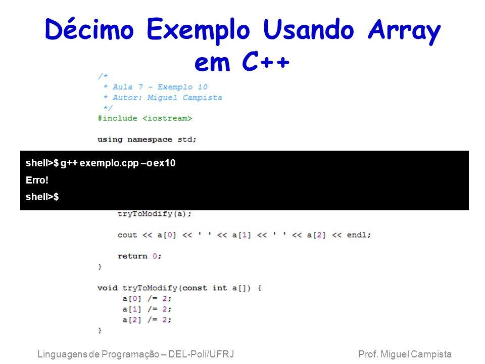 Décimo Exemplo Usando Array em C++