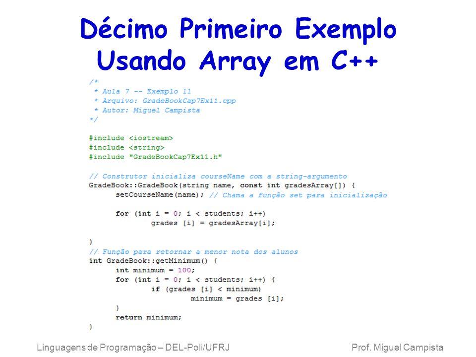 Décimo Primeiro Exemplo Usando Array em C++