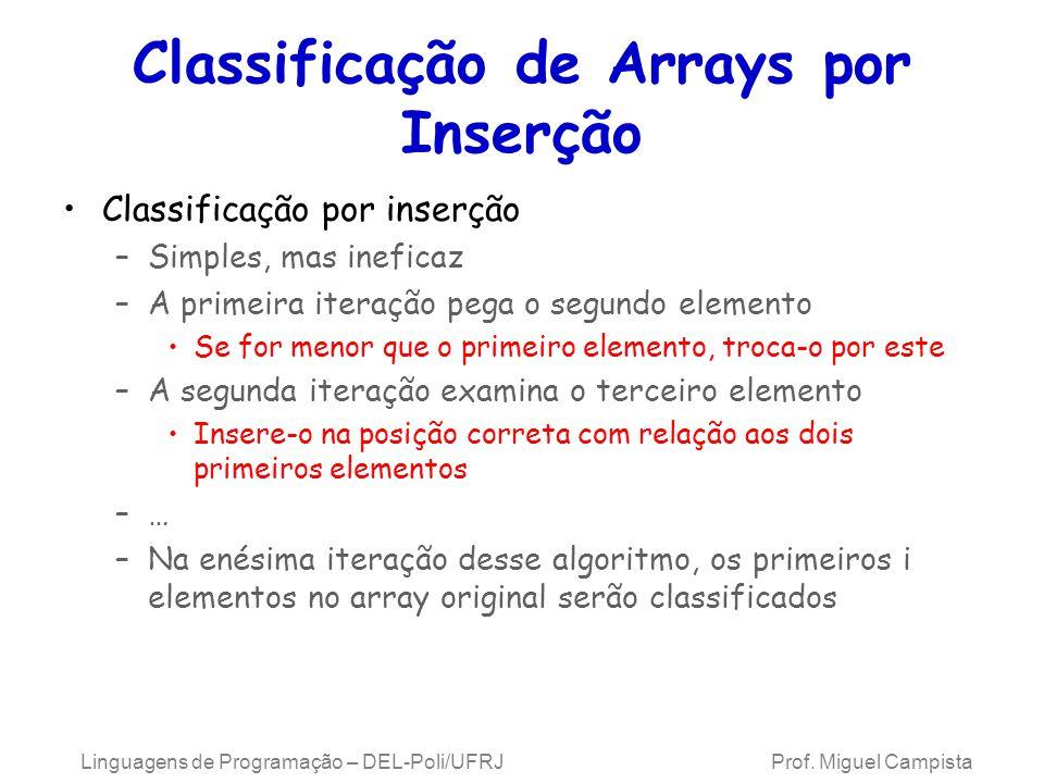 Classificação de Arrays por Inserção
