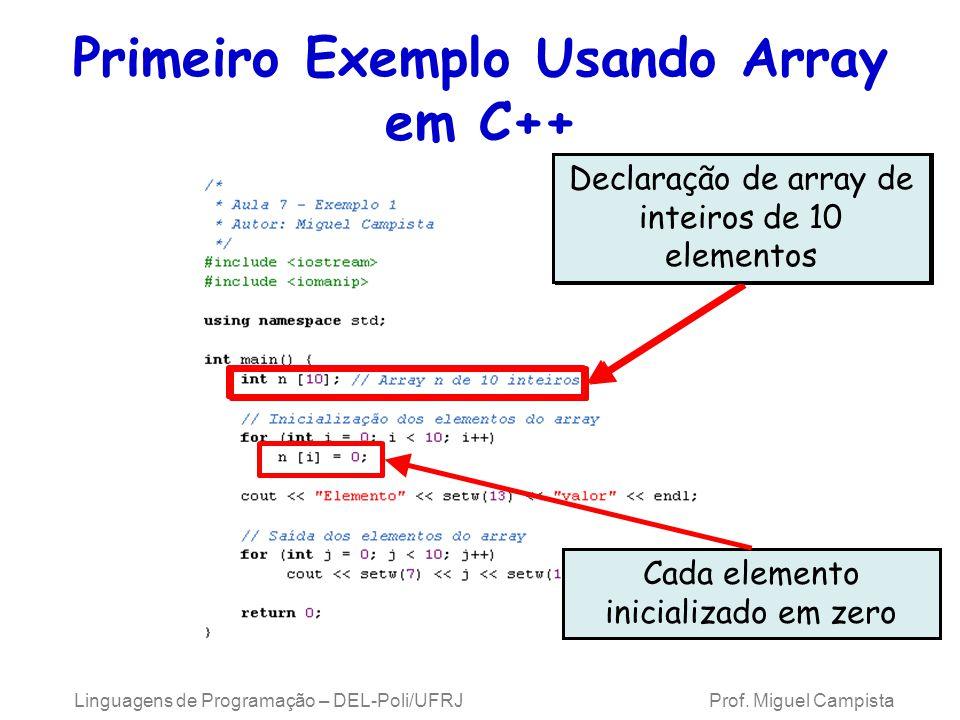 Primeiro Exemplo Usando Array em C++