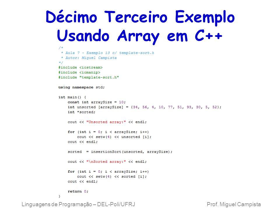 Décimo Terceiro Exemplo Usando Array em C++