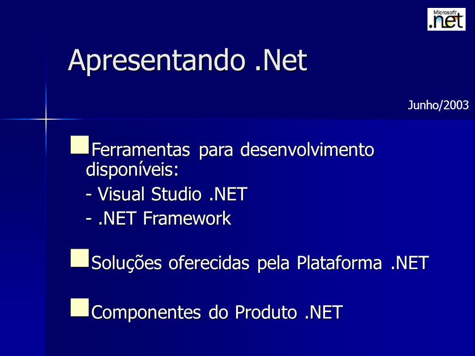 Apresentando .Net Ferramentas para desenvolvimento disponíveis: