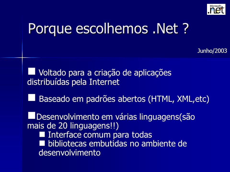 Porque escolhemos .Net Junho/2003. Voltado para a criação de aplicações distribuídas pela Internet.