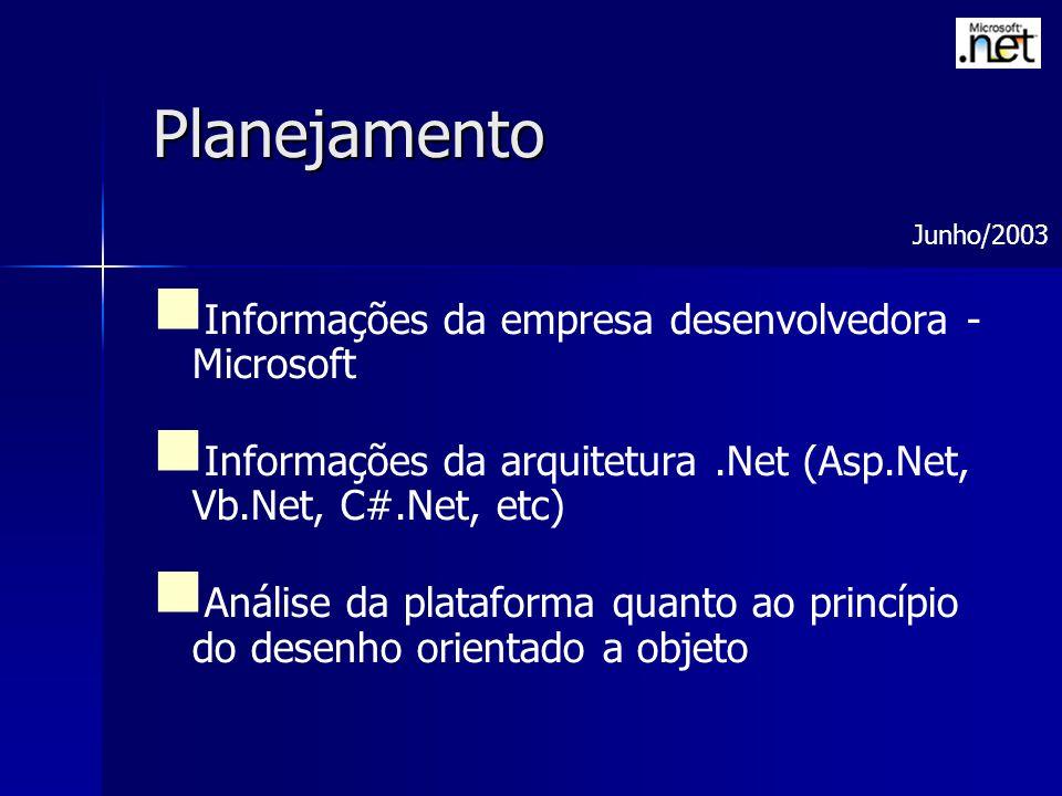 Planejamento Informações da empresa desenvolvedora - Microsoft