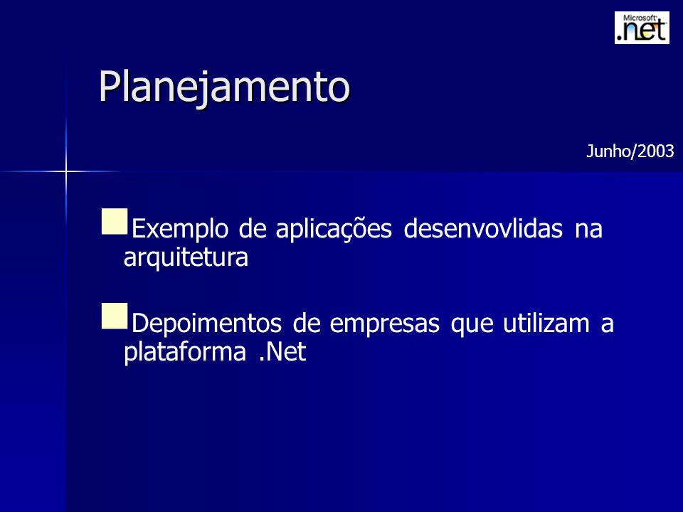 Planejamento Exemplo de aplicações desenvovlidas na arquitetura