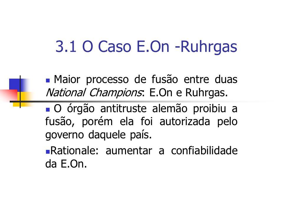 3.1 O Caso E.On -Ruhrgas Maior processo de fusão entre duas National Champions: E.On e Ruhrgas.