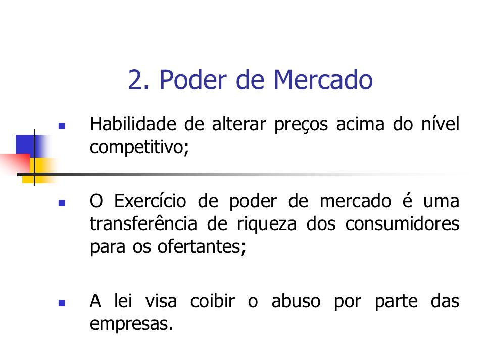 2. Poder de Mercado Habilidade de alterar preços acima do nível competitivo;