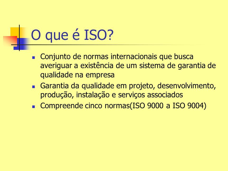 O que é ISO Conjunto de normas internacionais que busca averiguar a existência de um sistema de garantia de qualidade na empresa.
