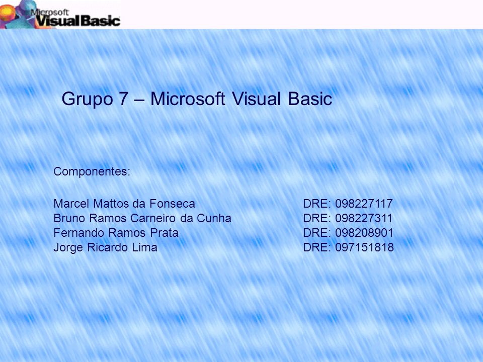 Grupo 7 – Microsoft Visual Basic