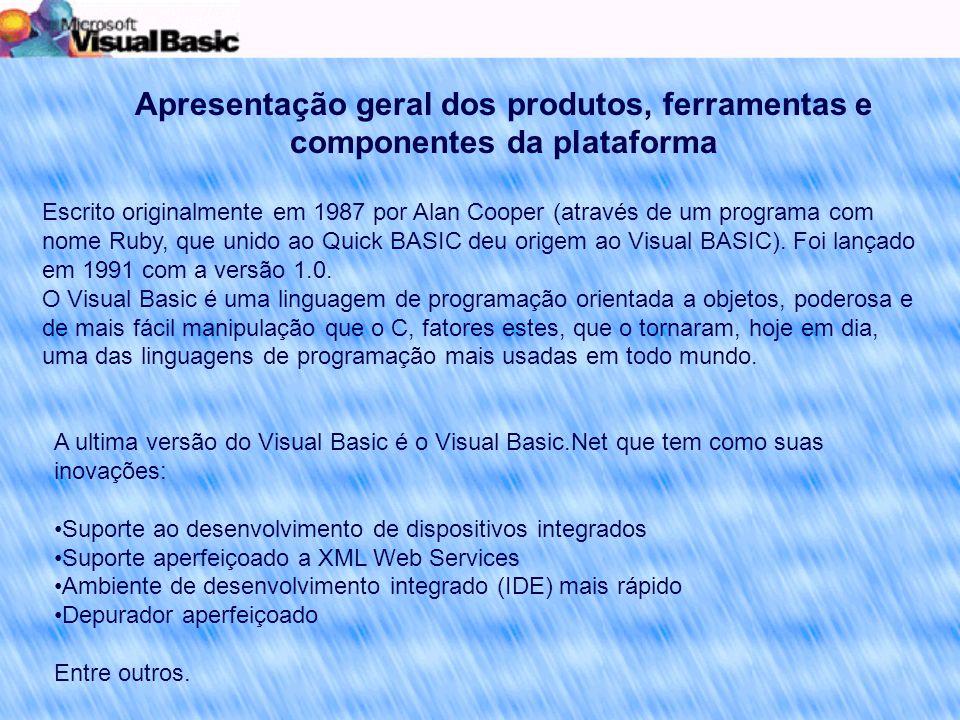 Apresentação geral dos produtos, ferramentas e componentes da plataforma