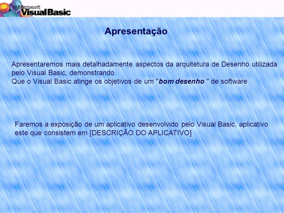 Apresentação Apresentaremos mais detalhadamente aspectos da arquitetura de Desenho utilizada pelo Visual Basic, demonstrando.