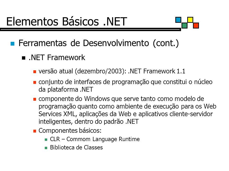 Elementos Básicos .NET Ferramentas de Desenvolvimento (cont.)