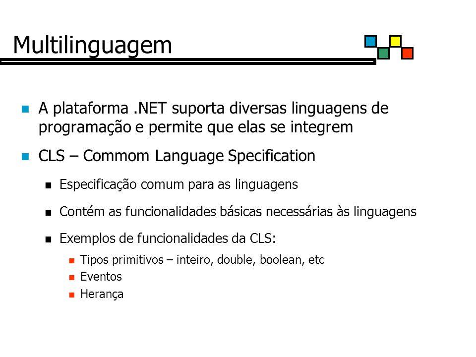 Multilinguagem A plataforma .NET suporta diversas linguagens de programação e permite que elas se integrem.