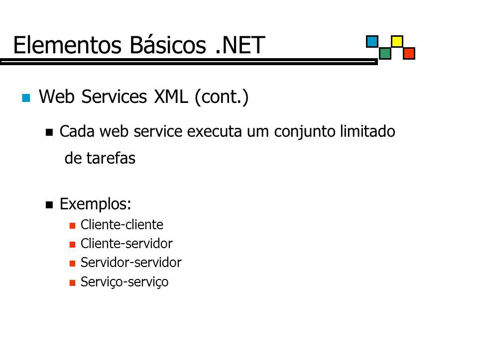 Elementos Básicos .NET Web Services XML (cont.)