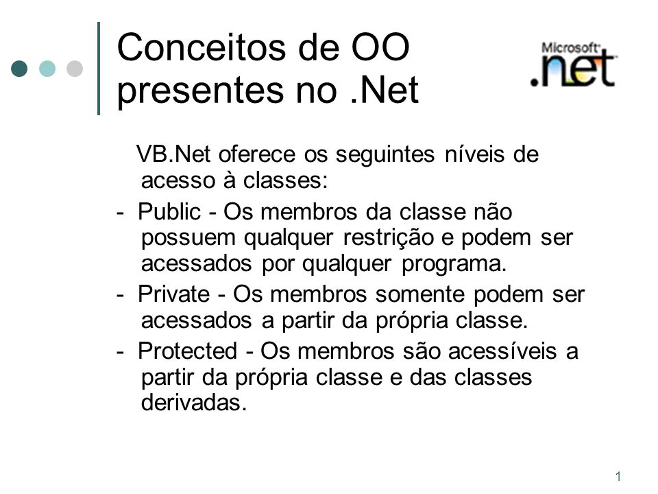 Conceitos de OO presentes no .Net