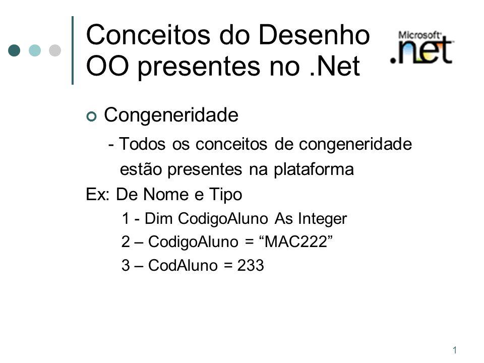 Conceitos do Desenho OO presentes no .Net
