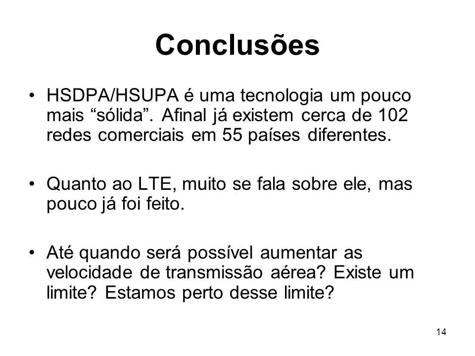 Conclusões HSDPA/HSUPA é uma tecnologia um pouco mais sólida . Afinal já existem cerca de 102 redes comerciais em 55 países diferentes.