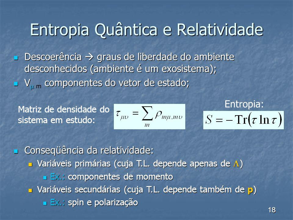 Entropia Quântica e Relatividade