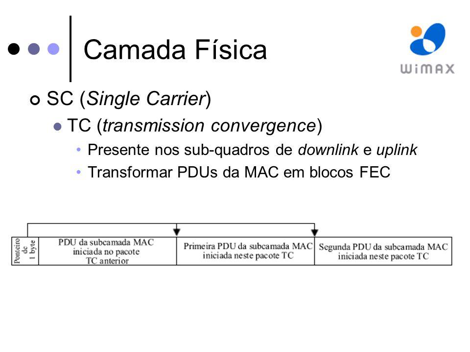 Camada Física SC (Single Carrier) TC (transmission convergence)