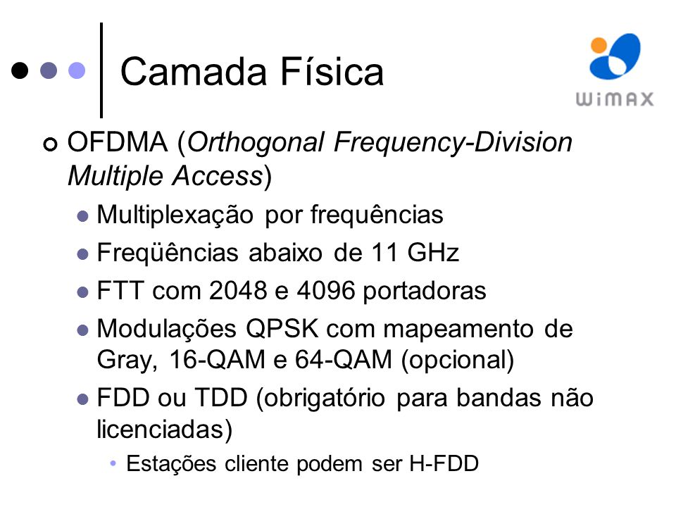 Camada Física OFDMA (Orthogonal Frequency-Division Multiple Access)