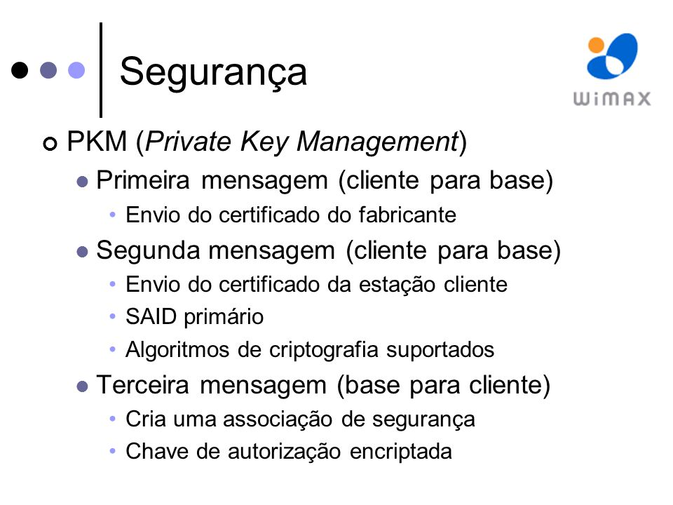 Segurança PKM (Private Key Management)