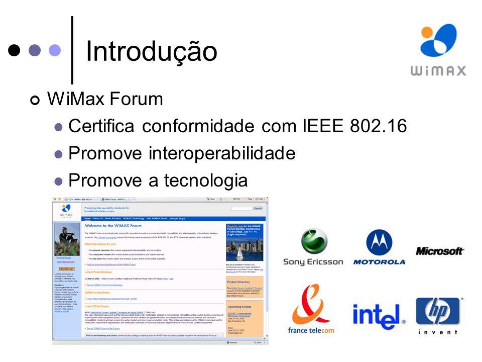 Introdução WiMax Forum Certifica conformidade com IEEE 802.16