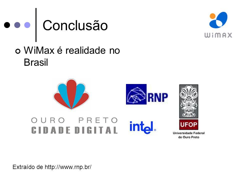 Conclusão WiMax é realidade no Brasil Extraído de http://www.rnp.br/