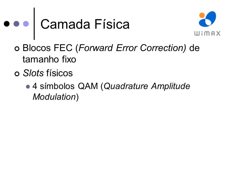 Camada Física Blocos FEC (Forward Error Correction) de tamanho fixo