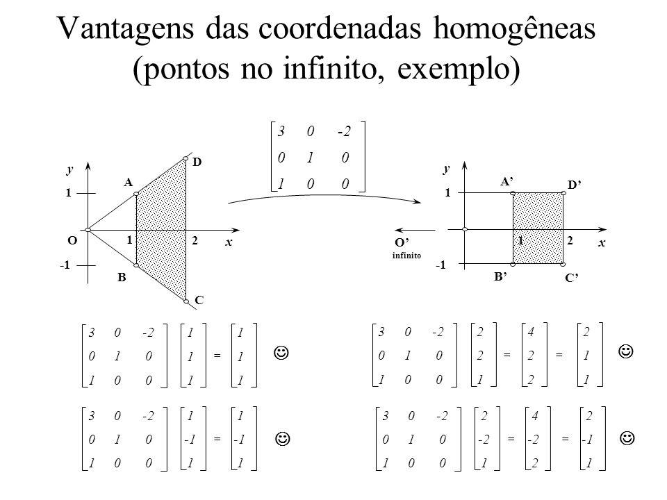 Vantagens das coordenadas homogêneas (pontos no infinito, exemplo)