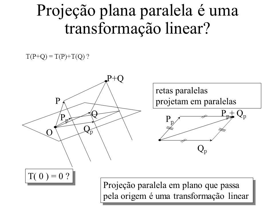 Projeção plana paralela é uma transformação linear