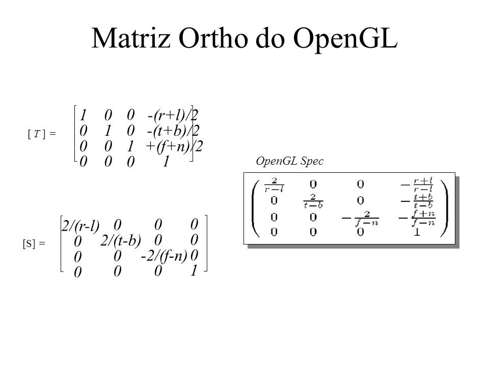 Matriz Ortho do OpenGL -(r+l)/2 -(t+b)/2 1 +(f+n)/2 2/(r-l) 2/(t-b)