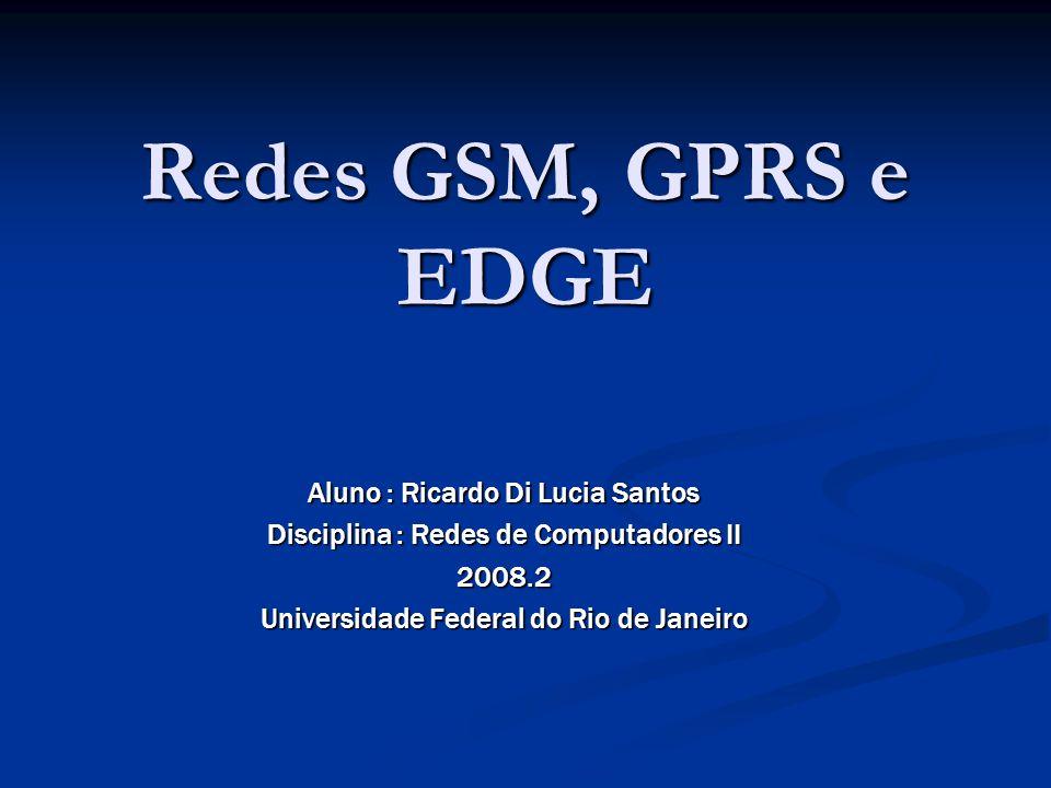Redes GSM, GPRS e EDGE Aluno : Ricardo Di Lucia Santos