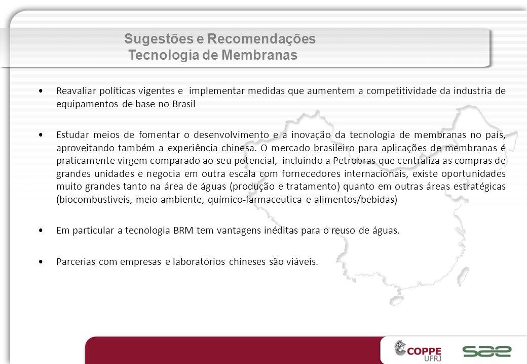 Sugestões e Recomendações Tecnologia de Membranas