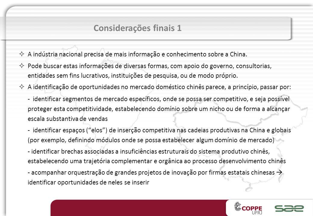 Considerações finais 1 A indústria nacional precisa de mais informação e conhecimento sobre a China.