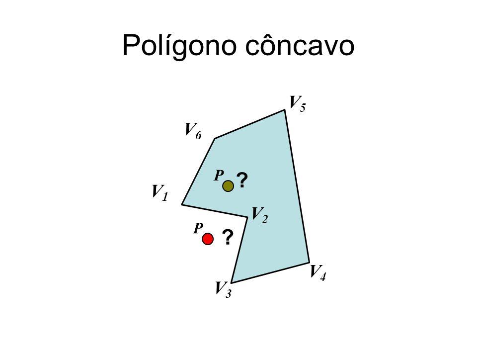 Polígono côncavo V1 V3 P V4 V6 V2 V5