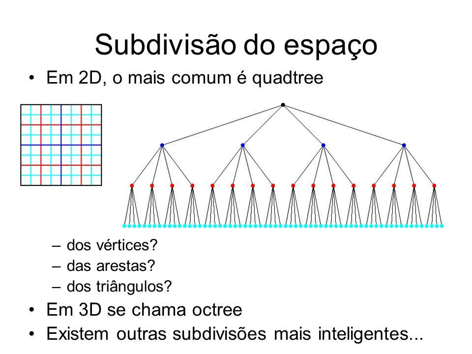 Subdivisão do espaço Em 2D, o mais comum é quadtree