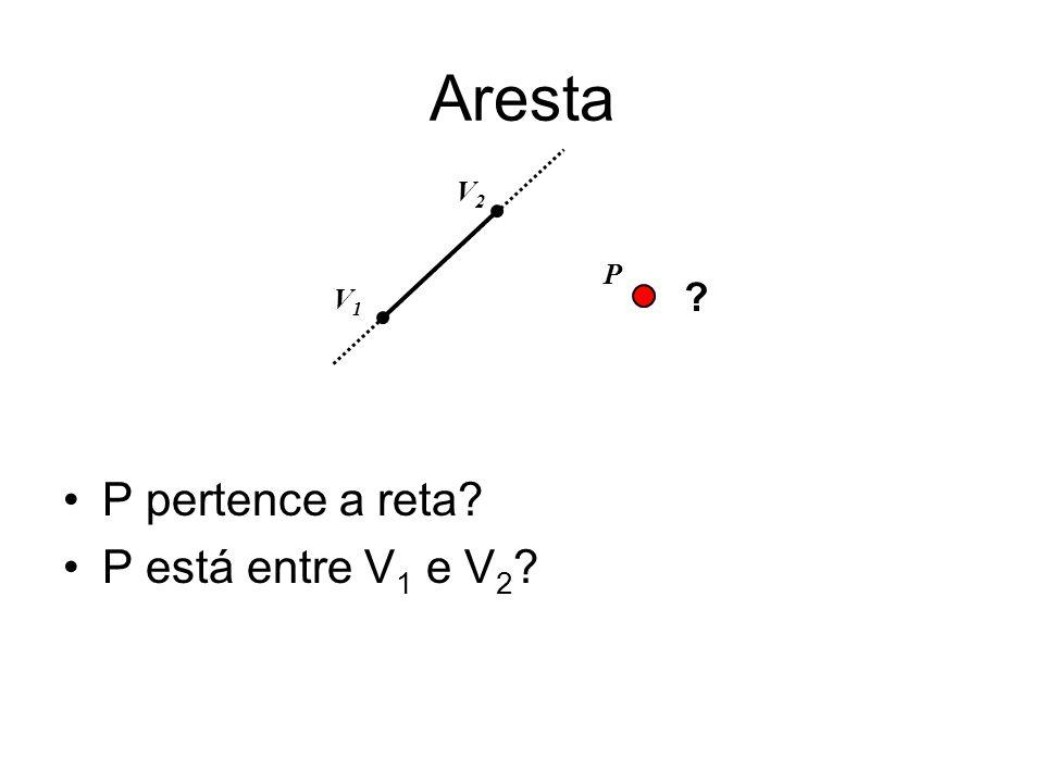 Aresta V2 P V1 P pertence a reta P está entre V1 e V2