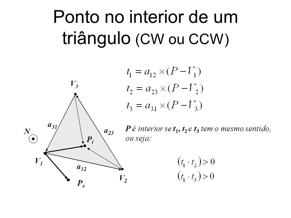 Ponto no interior de um triângulo (CW ou CCW)