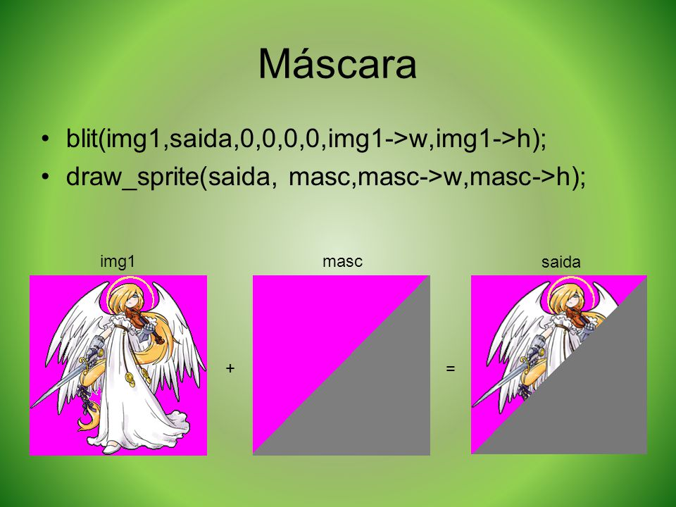 Máscara blit(img1,saida,0,0,0,0,img1->w,img1->h);