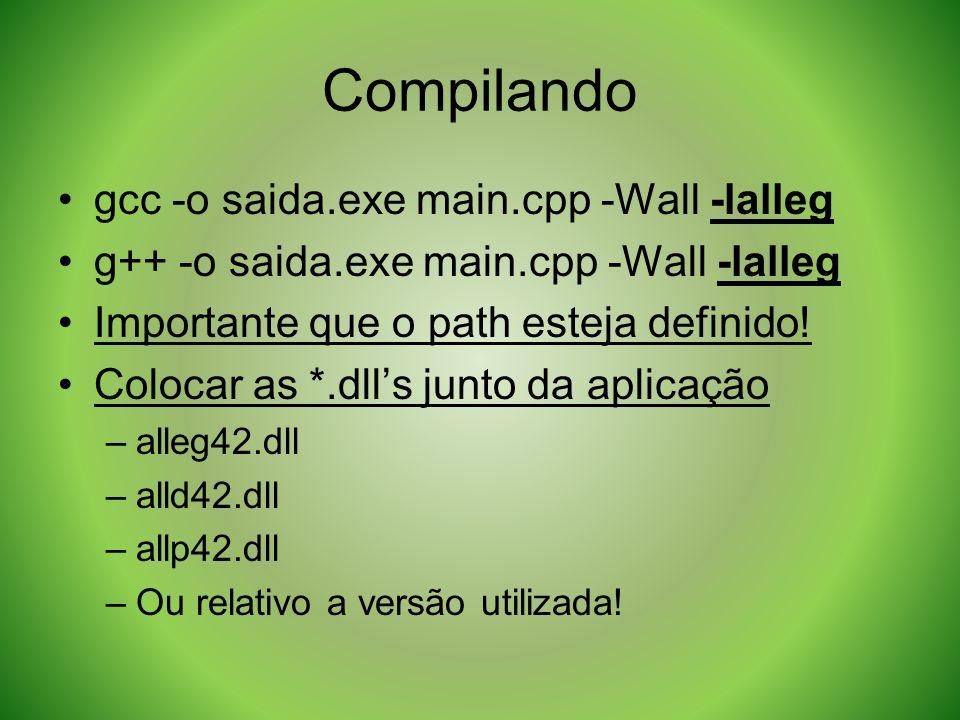 Compilando gcc -o saida.exe main.cpp -Wall -lalleg